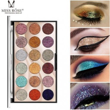 Miss Rose 18 Colour Glitter Eyeshadow Pallete